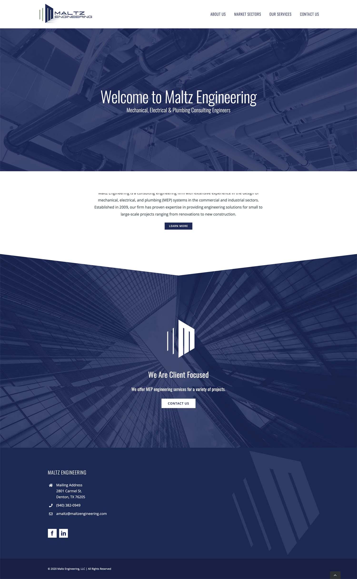 Maltz engineering website design Denton Texas