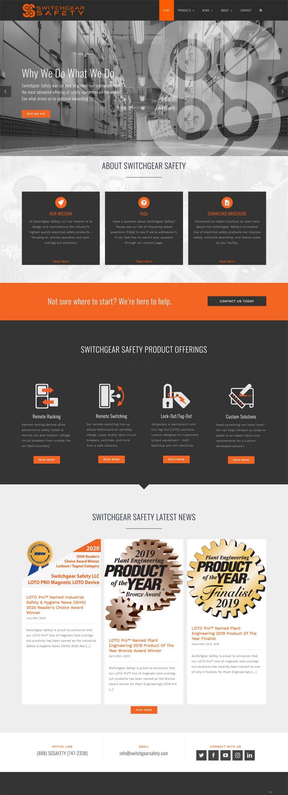 Switchgear Safety Website Mockup