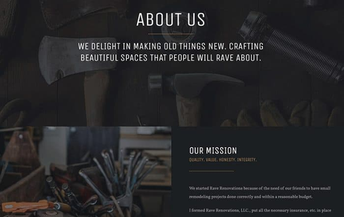 New Web Design - Rave Renovations New Construction and Remodeling Website Design Screenshot