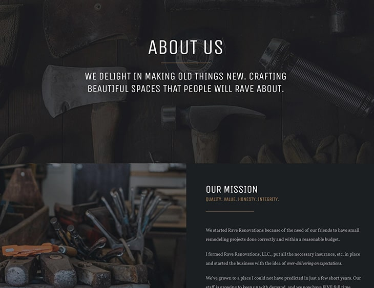 New Web Design - Rave Renovations New Construction and Remodeling Website Design Screenshot